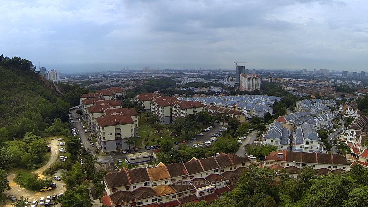 Puchong town at about 100 meters. Aerial filming video and photo services by WolFang Digital.