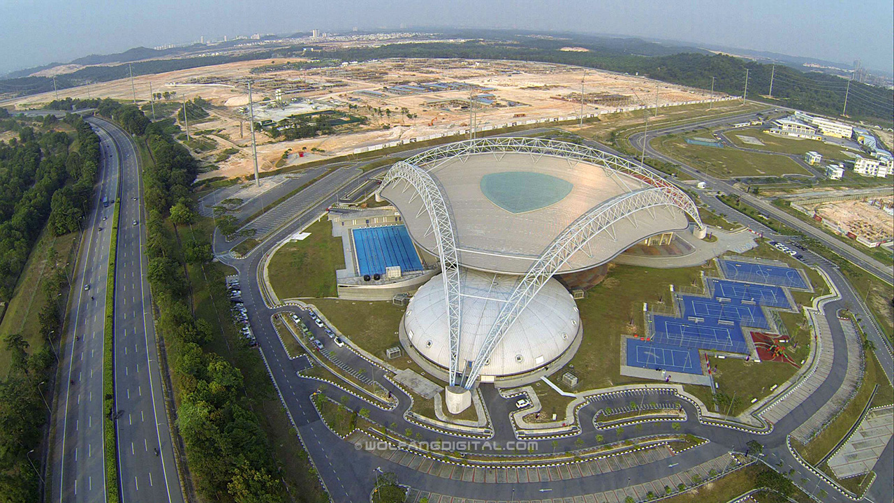 Aerial photo of the Sports Complex at Educity Iskandar in Nusajaya, Johore, Malaysia. Filmed by our drone.
