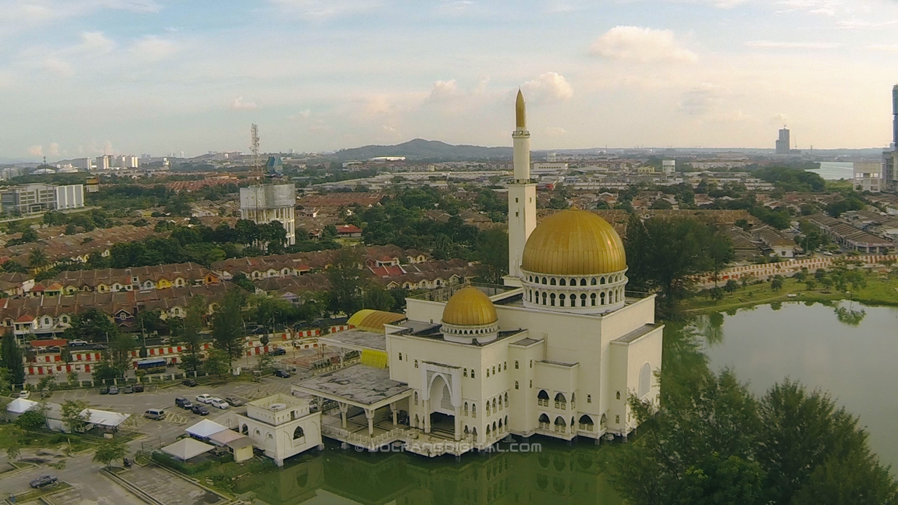 As Salam floating mosque. Aerial filming video and photo services by WolFang Digital.
