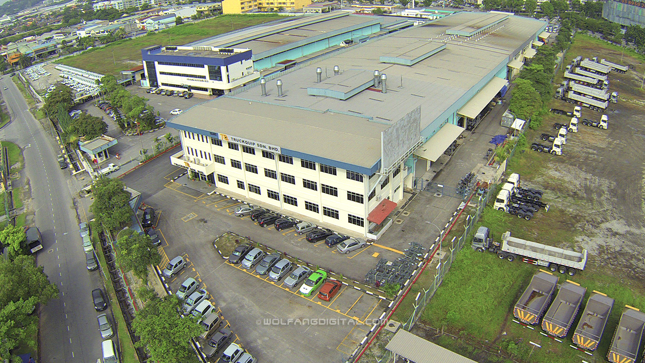 TruckQuip manufacturing complex by WolFang Digital aerial video and aerial photo services.