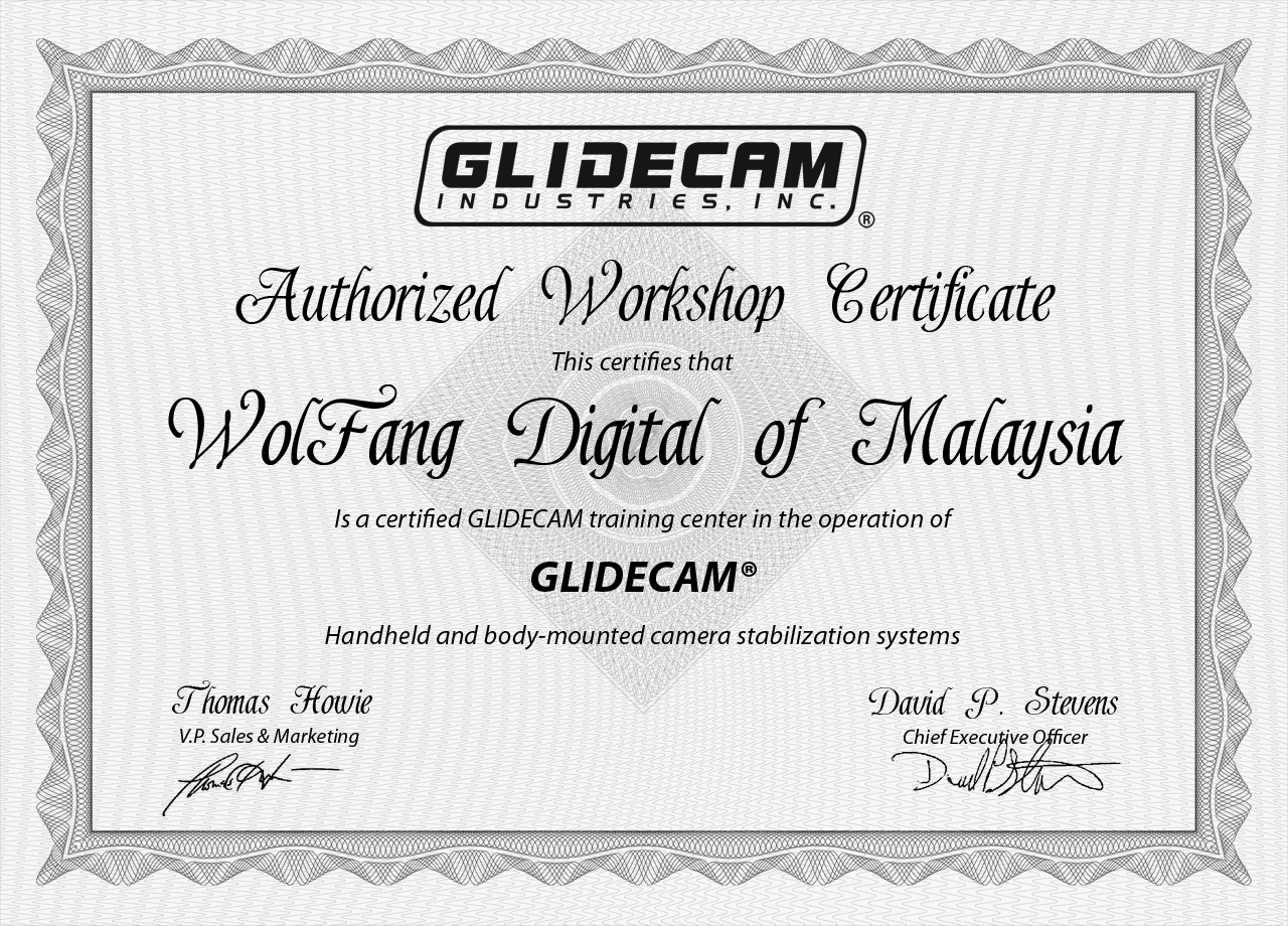 WolFang Digital is now an official training center for Glidecam from USA!
