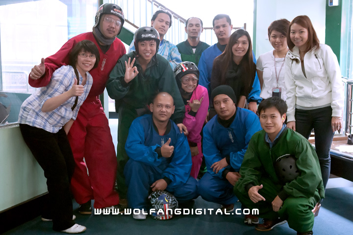 Our clients and SkyVenture instructors strike a pose for posterity.