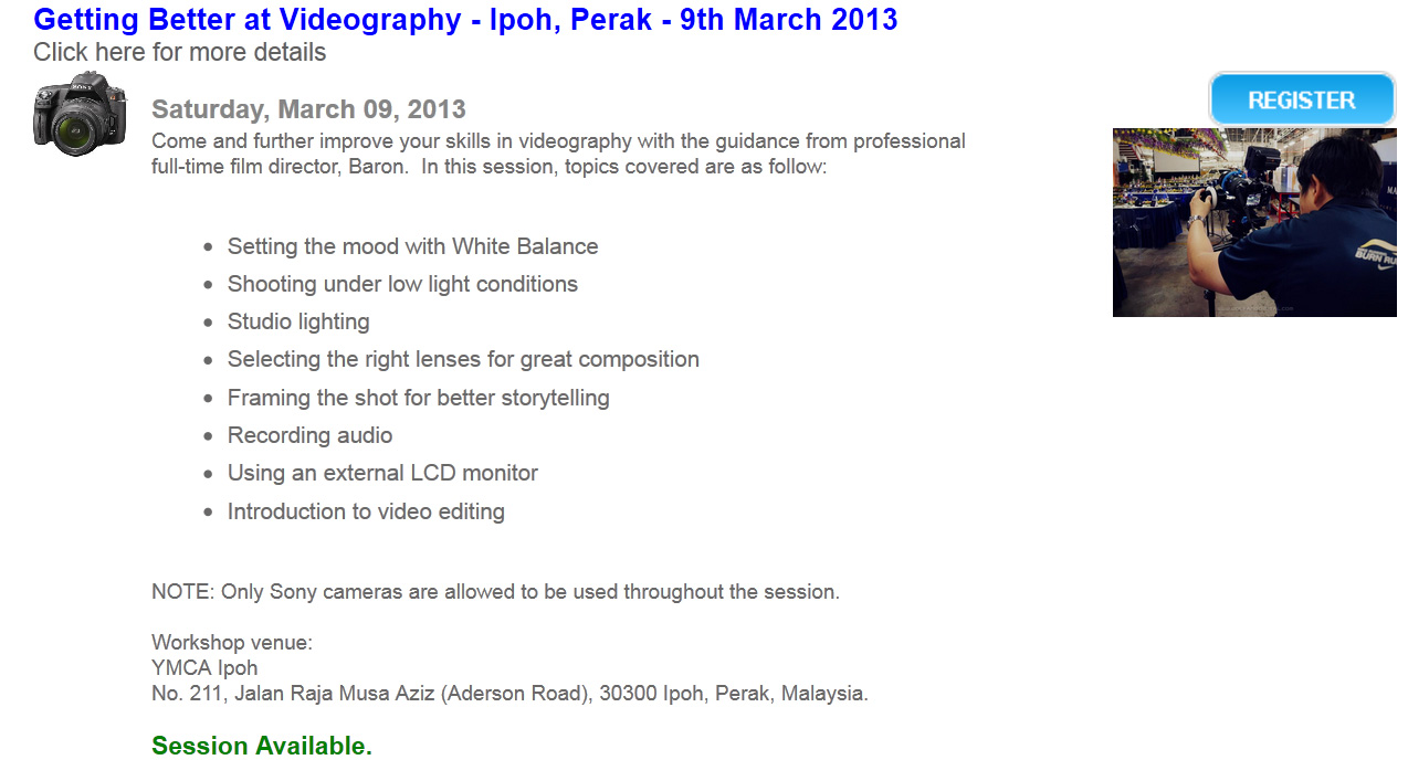 Register for Sony Alpha Video Workshop in Ipoh.
