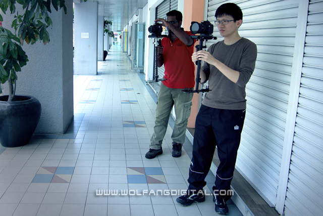 Students practice outdoors and learn the proper technique of walking with the Glidecam.
