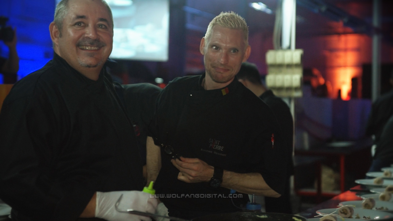 <Frame grab from video> Chef Emmanuel Stroobant and Antoine Rodriguez prepared a fine dining experience.