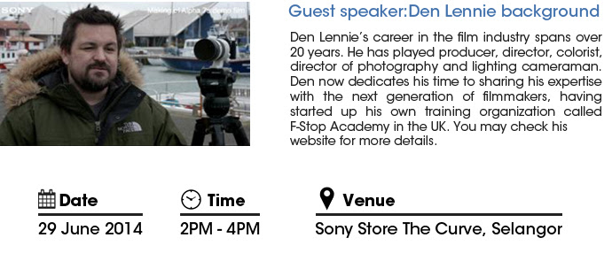Den Lennie, guest speaker at Sony A7s Exclusive Preview
