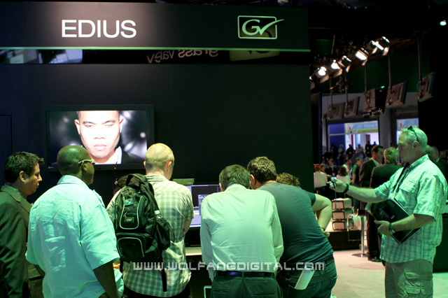 The Edius booth at Grass Valley... watch as the crowd start arriving.