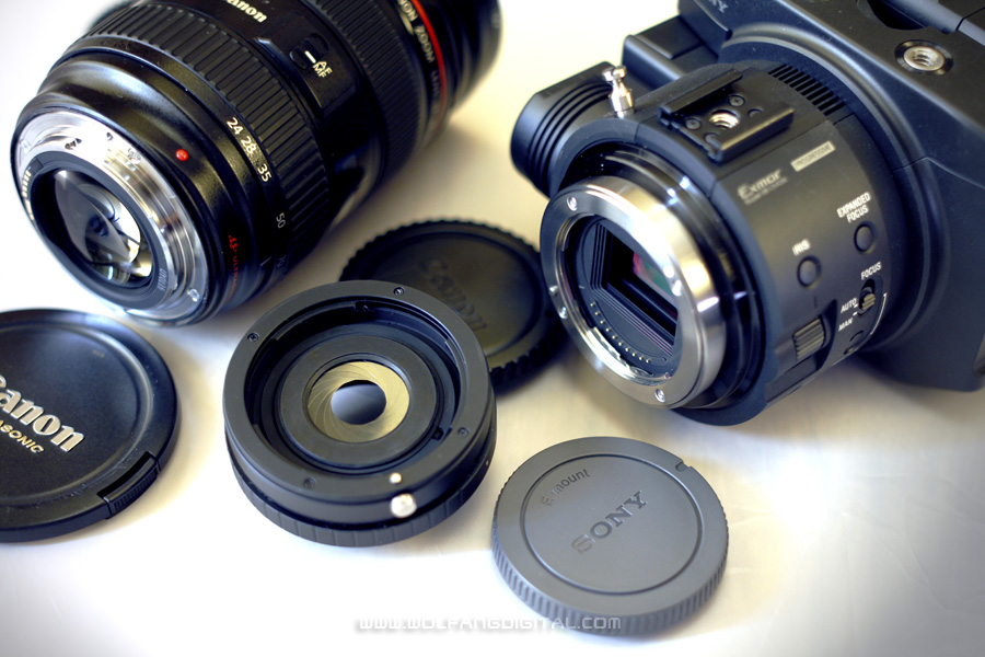 There are many EF to NEX adapters out there for you to use EF lenses on Sony cameras. Kipon is an inexpensive brand.