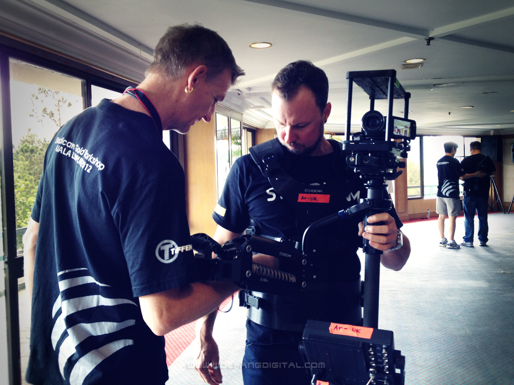 Instructor Chris Fawcett shows Gary Collins talk shop. Gary works as Steadicam op shooting sports for an Australian TV station.