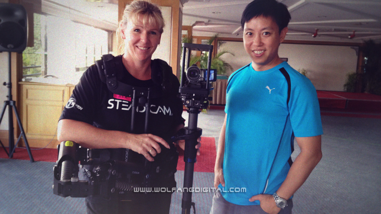 This is Rebecca Wilson-Jennings, our lady Steadicam instructor. She works as Steadicam Operator at TVNZ in New Zealand covering sport (esp. cricket) events. She has to be in gear for an entire game.