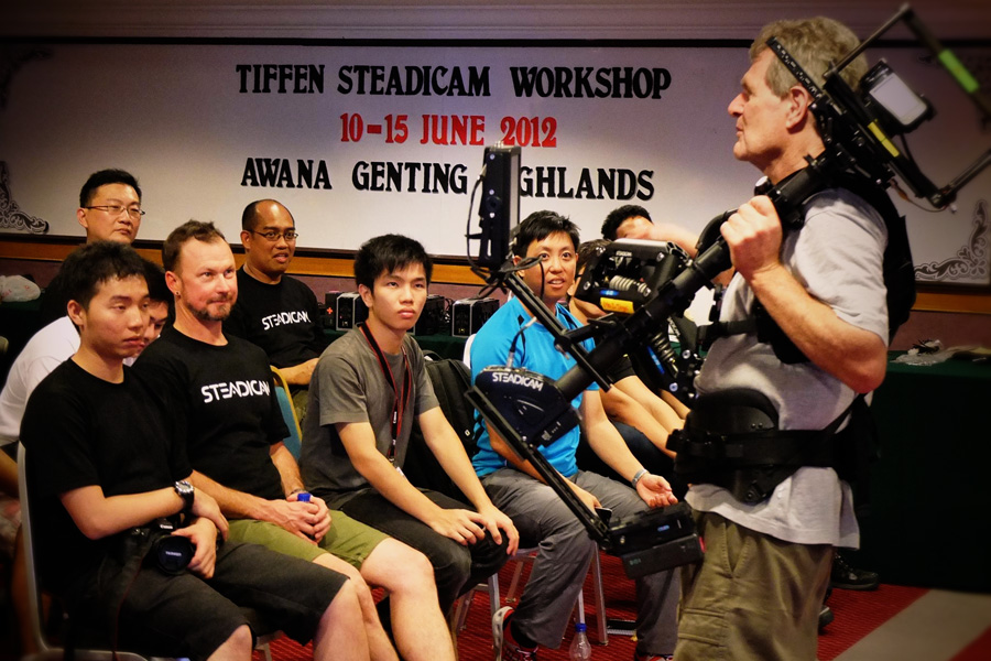 Wide eyed and in awe. Lead instructor Jerry Holway gives more advice on Steadicam operations. He's using the 'big-rig' Ultra2