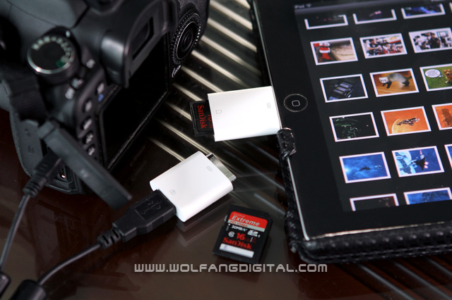 The SD Card adaptor plugs into your iPad. The USB adaptor connects to your camera directly. Happy trails!
