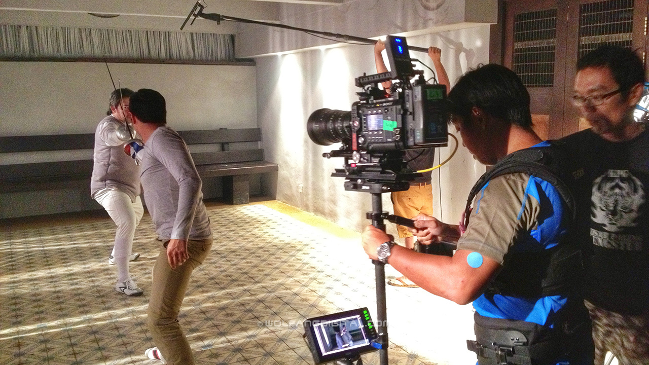 Steadicam Operator Baron Abas flying a Sony F55 on the Kelip Kelip movie set starring Keith Foo.