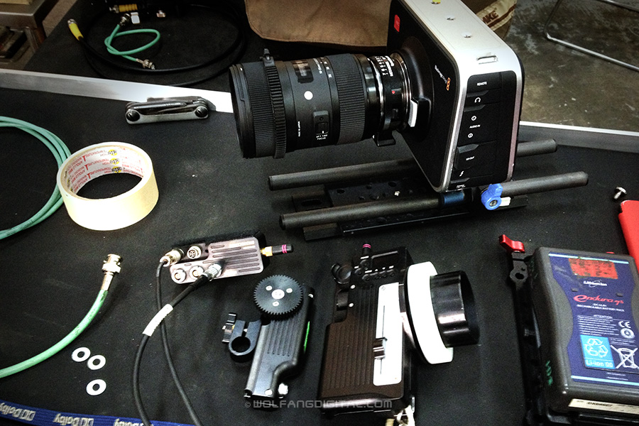 BMCC Blackmagic Design Cinema Camera with Sigma 16-35mm and RT Motion Wireless Follow Focus