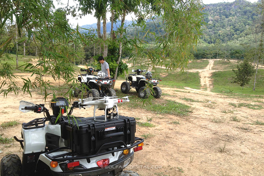 Setting up to do an aerial recce of an ATV track in Pahang with our quadcopter drone