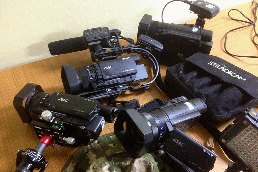 The sony ax100 cameras are compact and light. ideal for reality show filming in 4k.