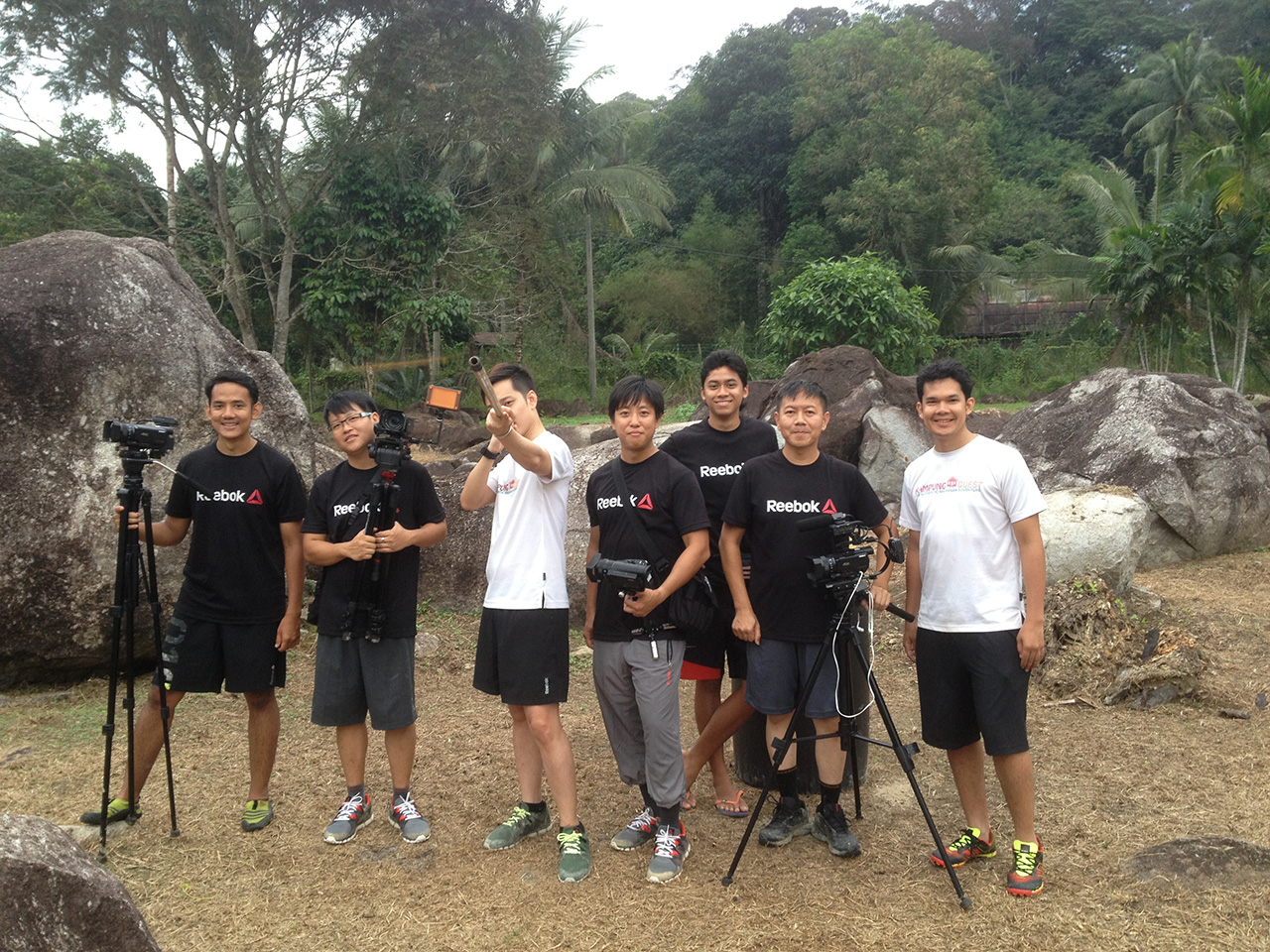 The camera team with host Jeremy Teo and Kampung Quest creators Feisal and Iskander Azizuddin