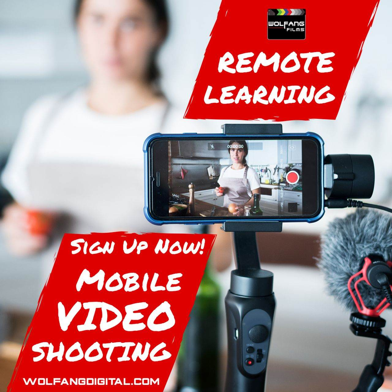 Online remote learning for smartphone mobile video shooting course by WolFang Digital
