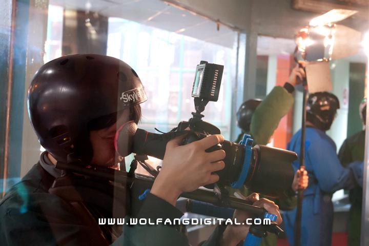 Filming indoor freefall simulator at Sky Ventures
