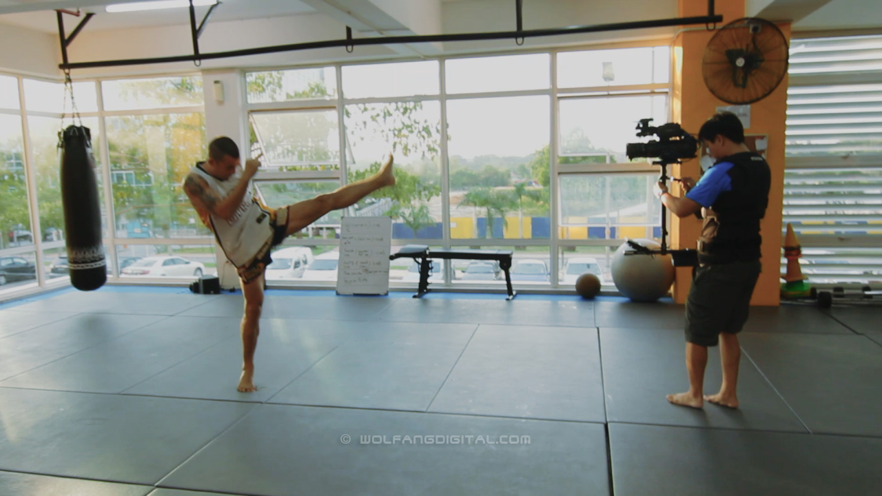 Filming muay thai at Art Of Fitness gym