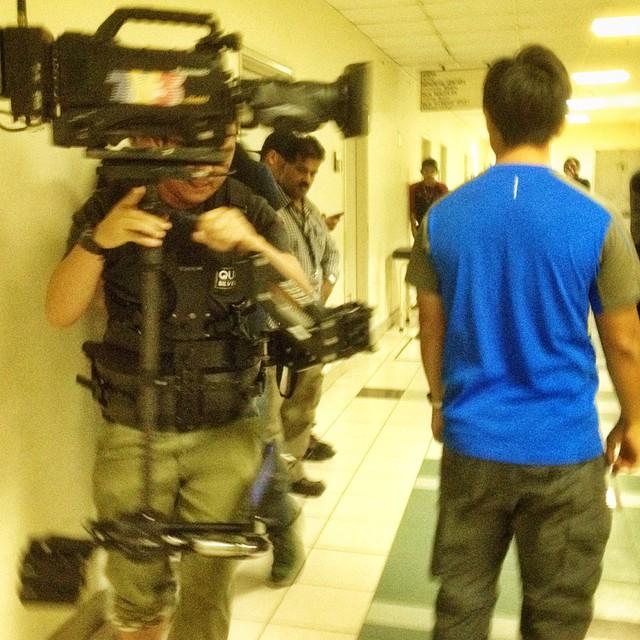 Backstage coaching the #steadicam team before tonight's live performance #AnugerahJuaraLagu #onset #tvshow #filmmaking #cinematography #ajl  #ajl2014 #ajl29 #tv3malaysia