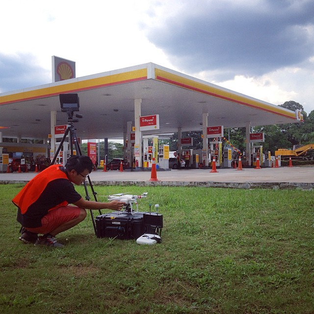 Performing final checks before clients arrive to supervise a single long take of a petrol station #dronelife #dronevideo #aerialfilming #uas #knowbeforeyoufly #filmmaking