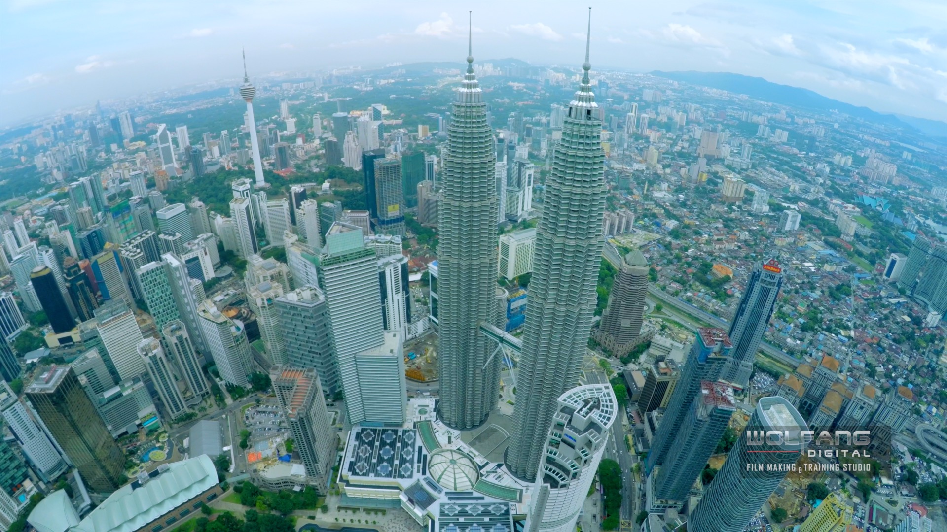 Aerial view of Petronas Twin Towers by WolFang Digital