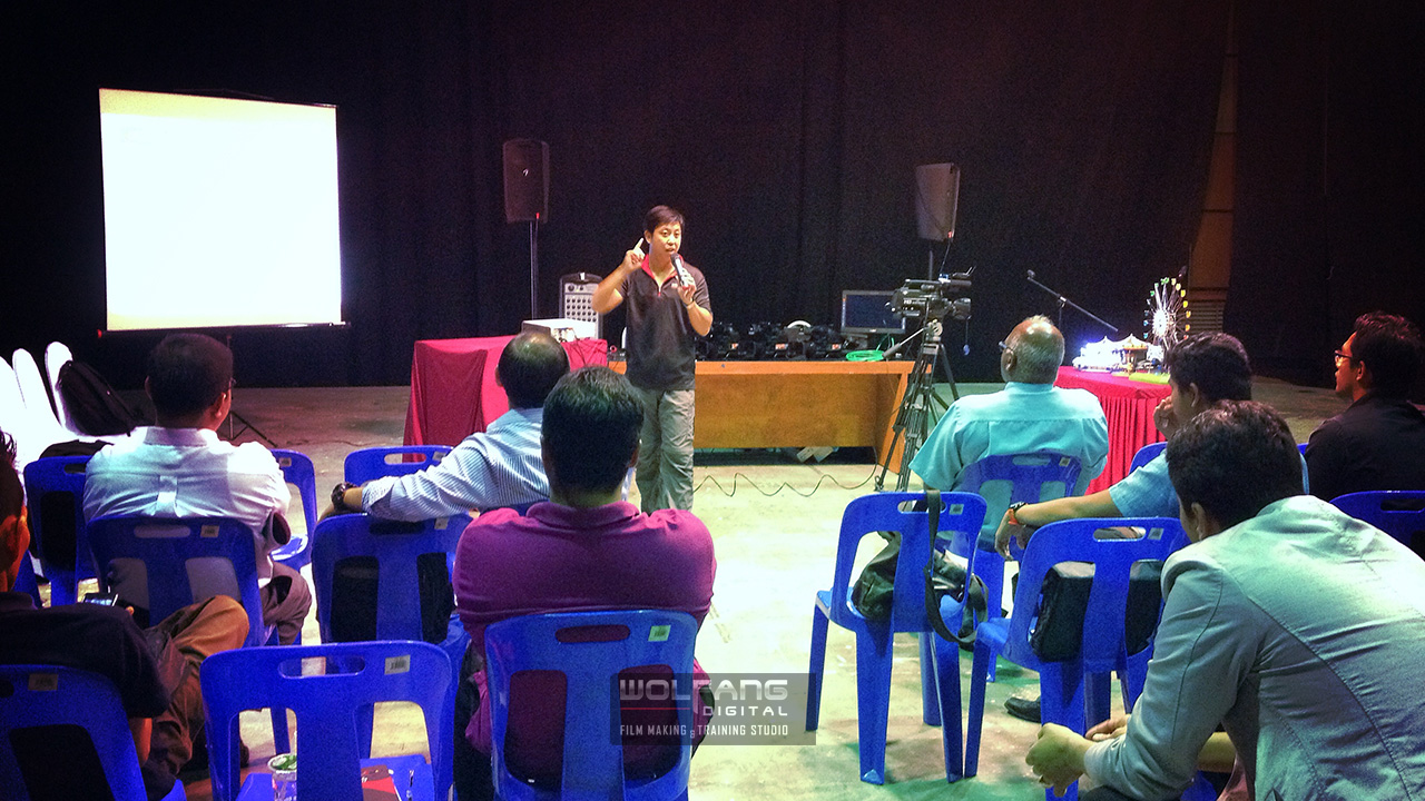 Speaking at Filem Negara Malaysia on the new Sony MC2500 camcorder