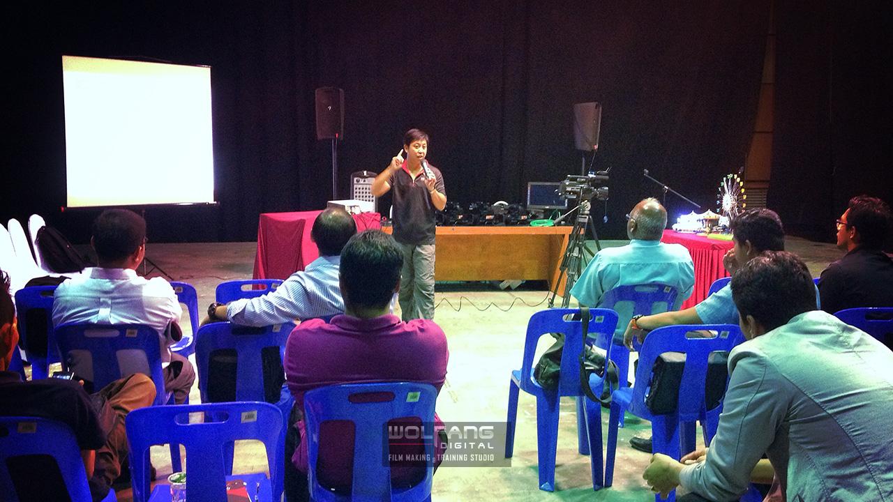 Speaking at Filem Negara Malaysia on the new Sony MC2500 camcorder