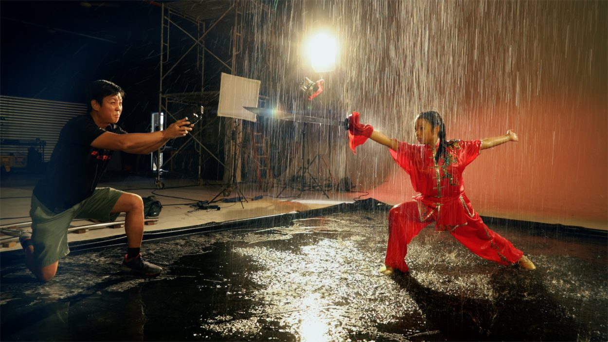 Baron Abas directing a wushu actress in a short film with Sony RX0