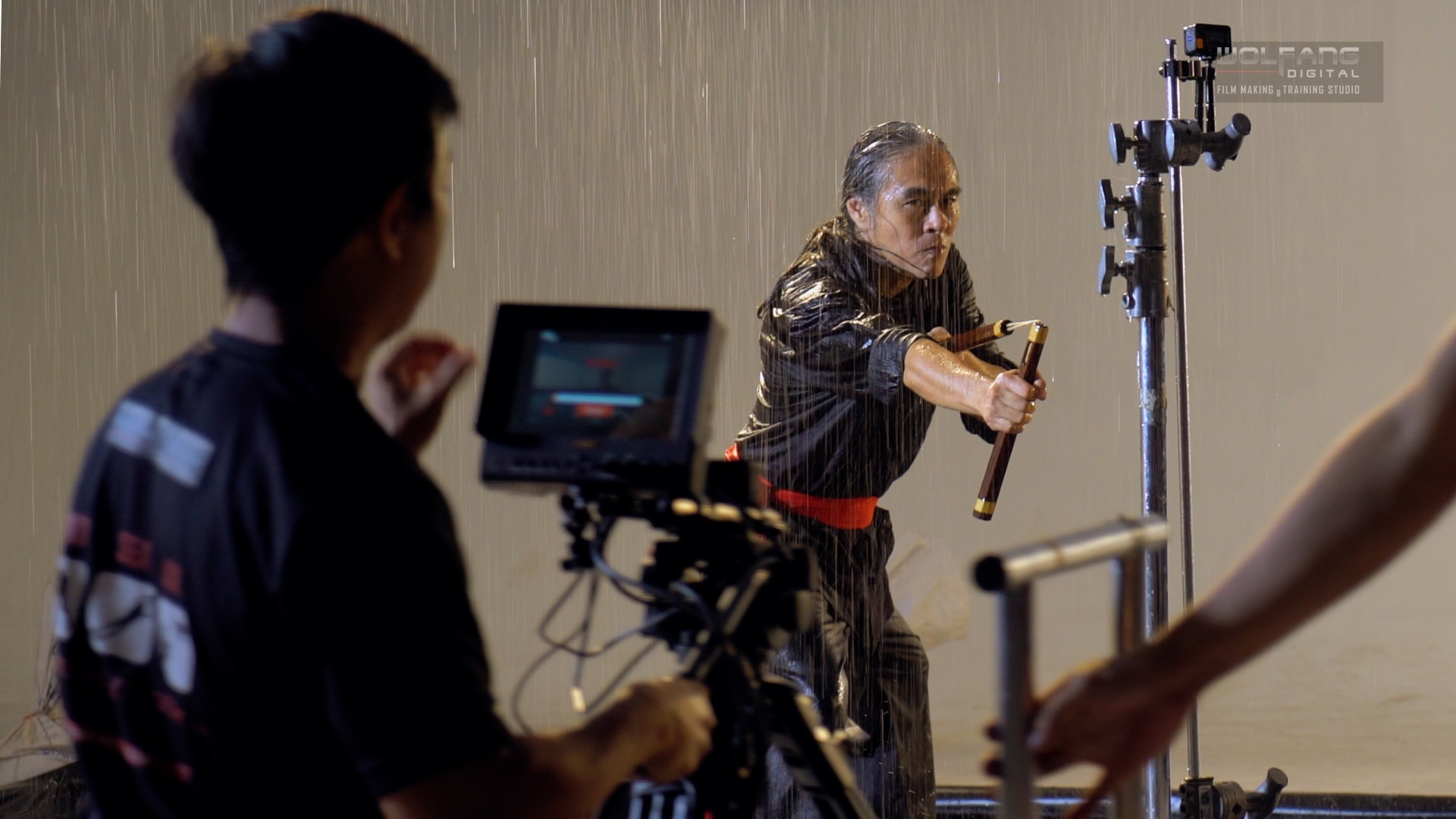 Martial arts expert sensei James Lee with DP Baron Abas on the set of 5tretch in Time